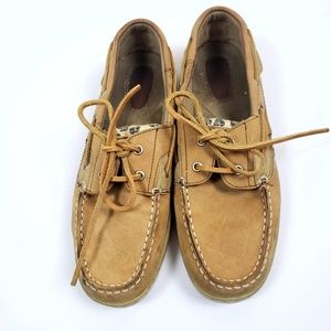 'Jiffy' Leopard Clear Sequin Boat Shoes Tan
